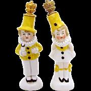 Vintage Pair of *Carnival Clown Performers* German Crown Top Figural Perfume Bottles