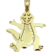 Estate 14K Yellow Gold Barney the Dinosaur Pendant/Charm