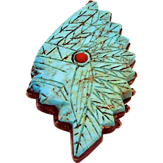 Huge Sterling Silver Hand-Carved Turquoise & Coral DS Navajo Indian Chief Pendant