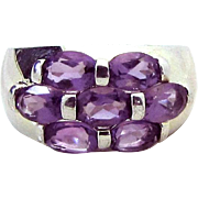 Beautiful 925 Sterling Silver Amethyst Cluster Ring 3 CT. T.W. Size 7