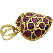 Vintage 18K Gold Natural Ruby & Sapphire 3D Filigree Heart Charm/Pendant
