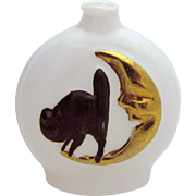 Vintage Art Deco Halloween Black Cat on Moon Milk Glass German Perfume Bottle
