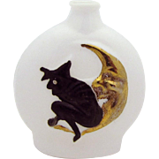 Vintage Art Deco Halloween Witch on Crescent Moon Milk Glass Perfume Bottle
