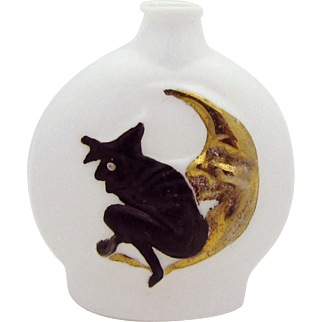 Vintage Art Deco Halloween Witch on Moon Milk Glass German Risque Perfume Bottle