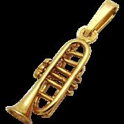 Vintage 14K Gold 3D Trumpet Pendant Charm