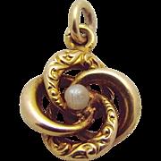 Antique 14K Gold Art Nouveau Flower Charm with Natural Pearl