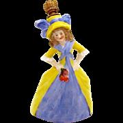 RESERVED Vintage German Crown Top Perfume Bottle Victorian Woman Holding Roses #24423
