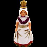 Vintage Dutch Milkmaid Crown Top Figural Perfume Bottle J.C. Boldoot Holland