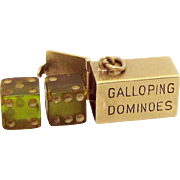 Vintage 10K Gold 3D Galloping Dominoes Gambling Dice in Box Case Charm