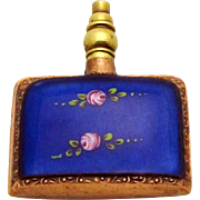 Vintage Art Deco Guilloche Blue Enamel German Perfume Bottle with Pink Roses