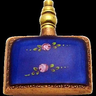 Vintage Art Deco Guilloche Blue Enamel German Perfume Bottle with Pink Roses