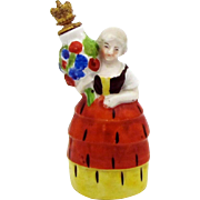 Vintage German Crown Top Perfume Bottle Woman with Urn in Four Tier Dress 8190