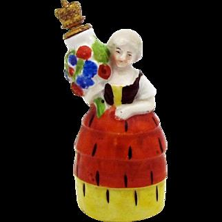 Vintage German Crown Top Perfume Bottle Woman with Urn in Four Tier Dress 8190