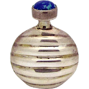 Vintage 925 Sterling Silver Azurite Ribbed Perfume Flask Bottle