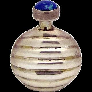 Vintage 925 Sterling Silver Azurite Ribbed Perfume Flask Bottle