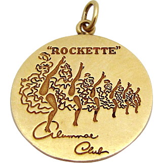 Rare Vintage 14K Gold Radio City Rockette Dancer Alumnae Club Disc Charm/Pendant 1960s