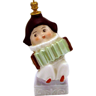 Art Deco German Crown Top Clown Musician with Squeezebox Perfume Bottle