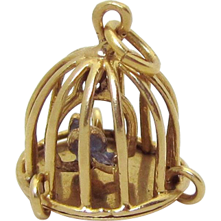 Vintage 14K Gold 3D Movable Bird on Swing in Cage Birdcage Charm