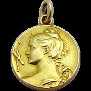 Antique 14K Gold *Art Nouveau Woman* Carter Gough & Co. 19th Century Charm