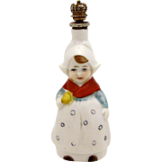 Art Deco Limbach German Little Dutch Girl with Buttercups Crown Top Figural Perfume Bottle