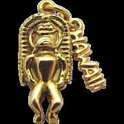Vintage 14K Gold Solid 3D Hawaiian Ku Tiki God Amulet Charm