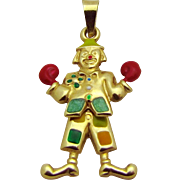 Vintage 14K Gold Movable Fun Clown with Boxing Gloves Charm Pendant