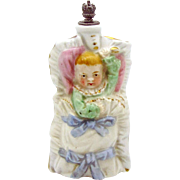 Baby in Cradle with Rattle German Crown Top Figural Perfume Bottle Germany 5568