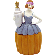 """Art Deco Era Woman with Urn German Crown Top Perfume Bottle 5"""" Schneider 15131"""