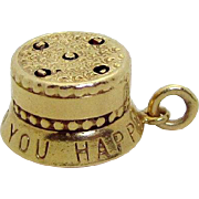 Vintage 14K Gold 3D Birthday Cake Charm w/Movable Pop-Up Candles