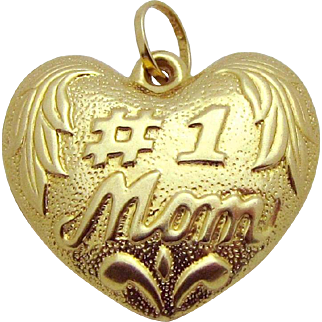 Large Vintage 14K Yellow Gold #1 Mom Puffy Heart Charm Pendant