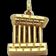 Vintage 18K Gold 3D *Greek Parthenon Pillars* Greece Travel Charm/Pendant