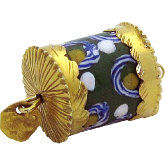 Vintage 14K Gold Jeweled Tibetan Prayer Wheel Cylindrical Charm Pendant
