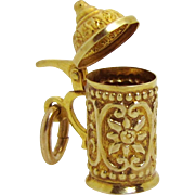Vintage 8K Gold 3D Movable German Lidded Beer Stein Charm