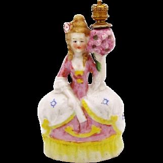 Victorian Era Woman in Court Dress with Flower Bouquet German Crown Top Perfume Bottle