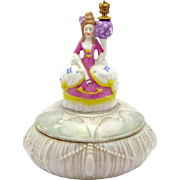 Victorian Woman in Court Dress with Flowers German Crown Top Perfume Bottle Powder Jar Box