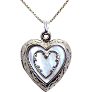 """Vintage Sterling Silver Mother of Pearl Heart Locket Necklace 18-3/4"""""""
