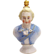 Rare Vintage Crown Top Perfume Bottle Bust of 18th Century Military Admiral