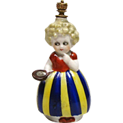 Curly Haired Girl Holding Mirror German Crown Top Figural Perfume Bottle