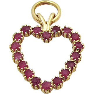 Vintage 14K Yellow Gold Ruby Heart Pendant Charm 1ct. Rubies