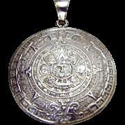 HUGE Vintage 925 Sterling Silver Mayan Aztec Sun Calendar Medallion Pendant