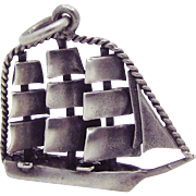 Vintage Sterling Silver Large British/American Revolutionary Ship Charm Pendant