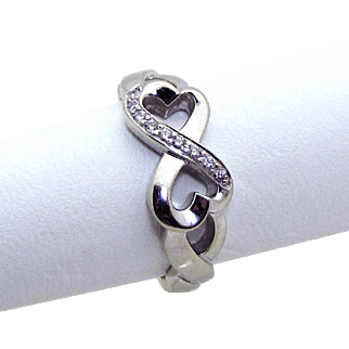 Tiffany & Co. 18K White Gold Paloma Picasso Double Loving Heart Ring with Diamonds