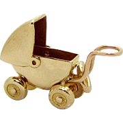 Vintage 10K Gold 3D Movable Baby Carriage Charm Carl-Art 1940s