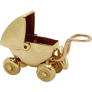 Vintage 10K Gold Carl-Art 3D Movable Baby Carriage Charm 1940s