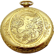 Antique Edwardian 18K Gold Quatre Rubis Pocket Watch with Hen & Chicks Church Scene