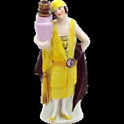 Vintage Art Deco Flapper Woman German Crown Top Figural Perfume Bottle