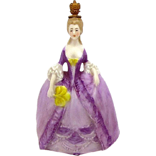 Vintage German Crown Top Perfume Bottle Victorian Woman in Lavender Court Dress