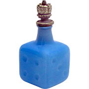 Vintage German Figural Blue Glass Gambling Die Dice Crown Top Perfume Bottle