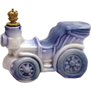 Vintage Old Automobile German Crown Top Figural Perfume Bottle Blue Delft Style