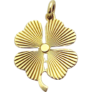 Vintage 14K Gold Lucky 4 *Four Leaf Clover* Good Luck Charm Pendant